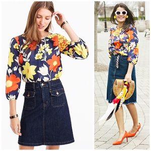 j. crew // vintage floral print silk blouse top